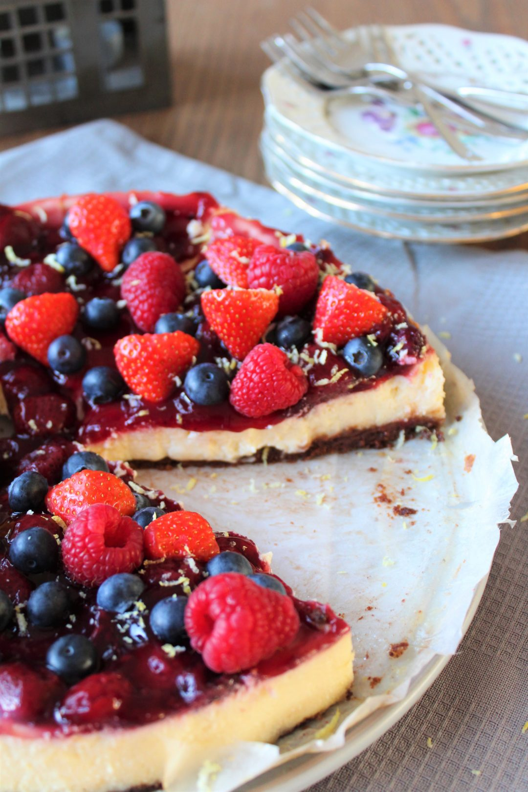Chocolate Chip Cookie Cheesecake met Rood Fruit